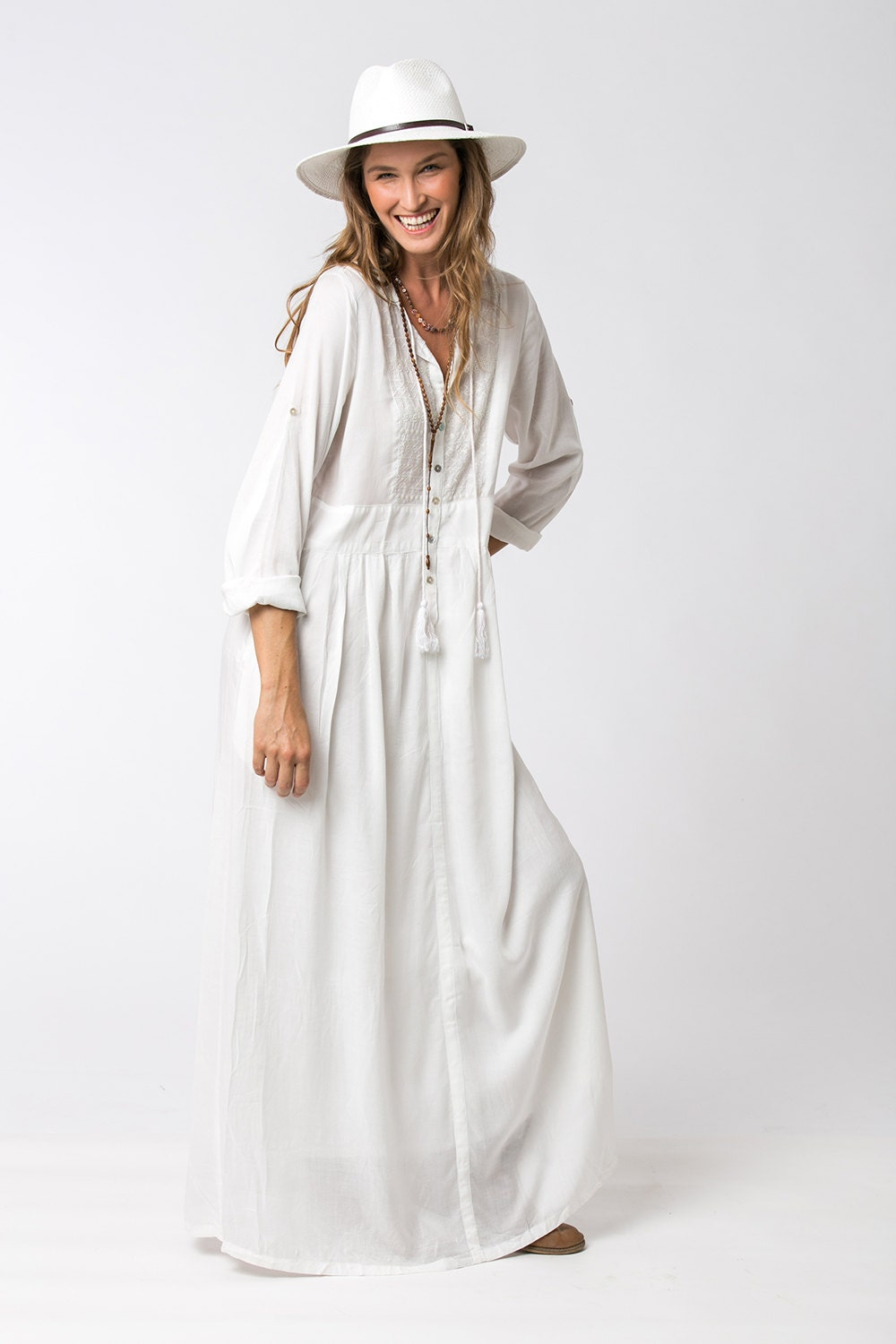 Long sleeve white dress bohemian dress loose dress white for Robe fluide verte