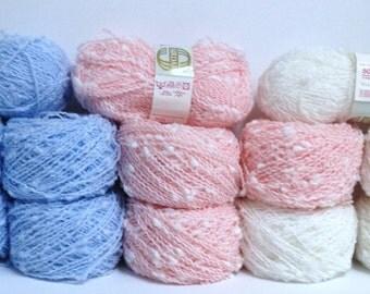 Sirdar Yarn Chunky Yarn Vintage Sirdar Pom Pom Snow White Baby Blue Conch Shell Coral Pink Fluffy Textured Baby Yarn for Knitting or Crochet