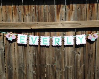 Mermaid Name Banner, Mermaid Party Banner, Mermaid Banner | Under The Sea Banner | Name Banner | Lavender and Aqua