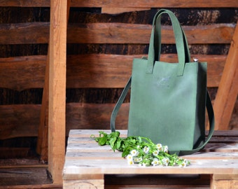 Green leather crossbody tote bag - leather handbag - green tote - leather bag - handmade leather bag - tote bag - genuine leather bag