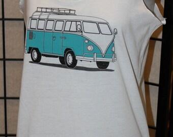 VW Bus Tank Top. VW Camper Bus Shirt. Womens Tank Top. Summer Shirt. White Cotton Tank Top. Camper Bus.