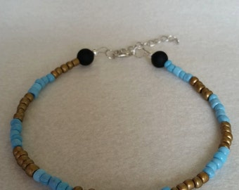 Gold and blue seed bead anklet