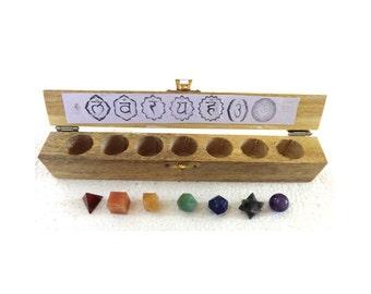 Platonic Solids 7-piece shaped healing crystals sacred geometry chakra set
