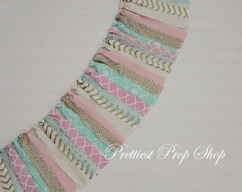 Highchair Banner, Birthday Banner, Garland, Highchair Garland, Rag Tie Garland, Scrappy Fabric Banner, Cake Smash, Pink Mint and Gold