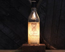 Handmade Recycled Old Rip Van Winkle 10 Year Bottle Lamp-Features Reclaimed Wood Base, Edison Bulb, Twisted Cloth Wire, Inline Switch & Plug