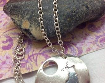 Silver Oxidised moongazing Fox imprint pendant
