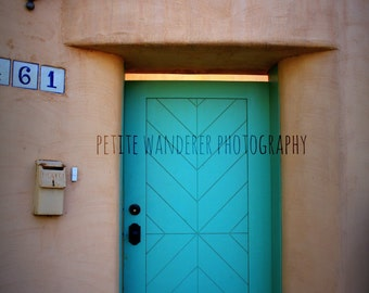 Santa Fe Turquoise Door, Santa Fe Decor, Southwestern Wall Art, Canyon Road, New Mexico Art, Door Photography, Affordable Home Decor
