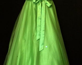 Bright Green Strapless Satin, Chiffon and Sequin Formal Gown    VG219