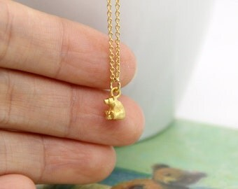 Tiny Bear Necklace, Very Small Bear Charm Necklace, Tiny Matt Gold Bear Necklace, Matt Gold Bear Pendant Necklace, Polar Bear Necklace