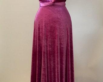 Bridesmaid dress, prom dress, infinity dress, mauve velvet dress, ball gown, long dress, evening dress, convertible dress, party dress