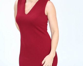 Red wine casual dress Bodycon Pencil dress Office knee length dress sleeveless with v neck