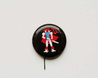 vintage Soviet pin pinback button prince king frog magic (Russian) brooch cordon badge medallion fairytale fable folklore