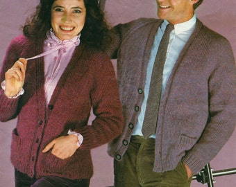 Knitting Pattern - His and Hers V Neck Cardigans - 32 to 42 inches