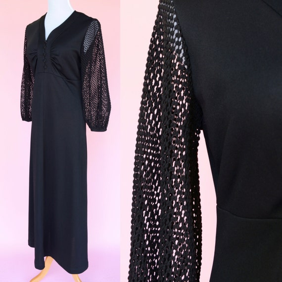 Black, 70s Vintage, Maxi Dress // 1970s, Boho, Disco Costume, Women Size Medium, Large
