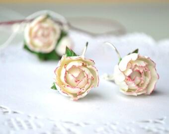 White pink peony peonies flower floral earrings. Wedding bridal brides peonies earrings jewelry.Polymer clay flower flowers earrings jewelry