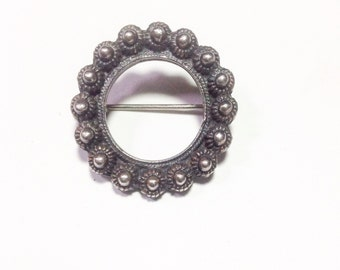 Vintage, Astri Holthe, Norway, pewter brooch in old Norwegian style.