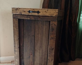 Wood Trash Can, 30 Gallon Garbage Can, Rustic Home Decor, Pet Food Storage, Container, Recycling Bin, Laundry Basket, Hamper, Home Decor