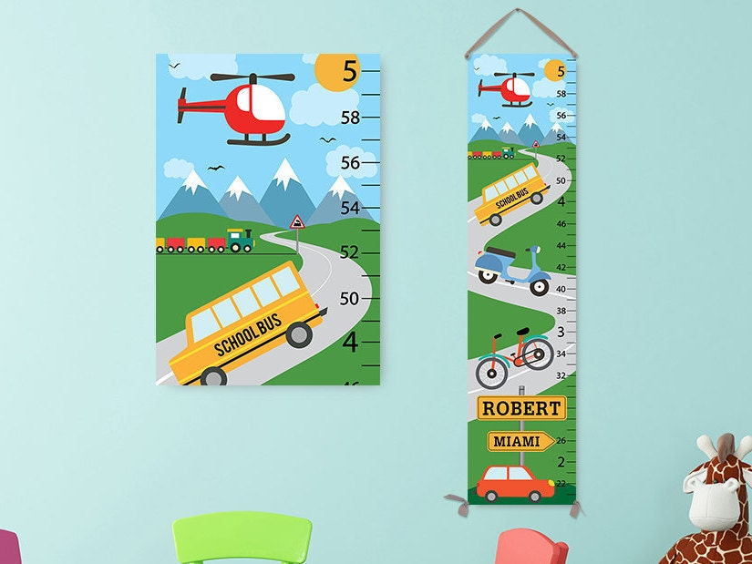 Transportation Growth Chart - Personalized Growth Chart, Cars Kids ...