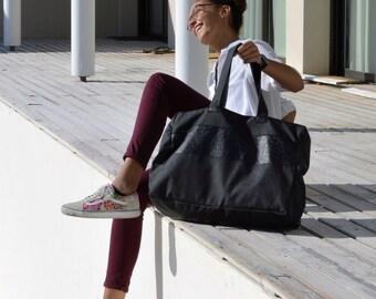 Weekender Bag/Black Week End Bag Cordura and leather/ Luggage & Travel bag/Overnight bag/ Black Canvas Overnight/Travel bag/Weekender
