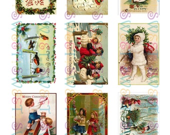 Edible Vintage Christmas Card Cookie Toppers - Wafer Paper or Frosting Sheet