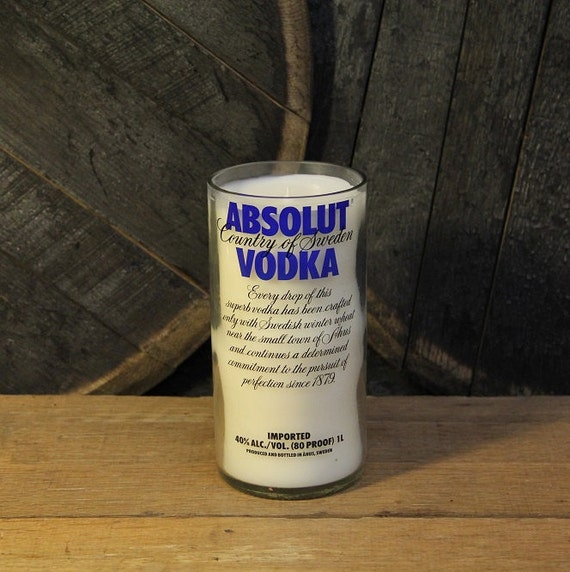 Absolut Vodka Wedding Candle, Alternative Wedding Candle, Soy Wax Recycled 1L Liquor Bottle Handmade Candle, Groom Wedding Candle
