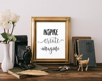 Inspire Create Imagine Print, Inspirational wall art, Trendy printable wall art, Boho art print, Black and white wall art print BD-749