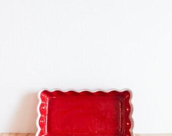Aborn Bright Red California Pottery Dish