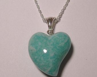 Amazonite from Brazil Carved Heart Pendant with Silver chain (H-2)