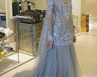 Pakistani Engagement Formal Dress- Elan Inspired Silver Lehenga Choli Bollywood Indian Bridal