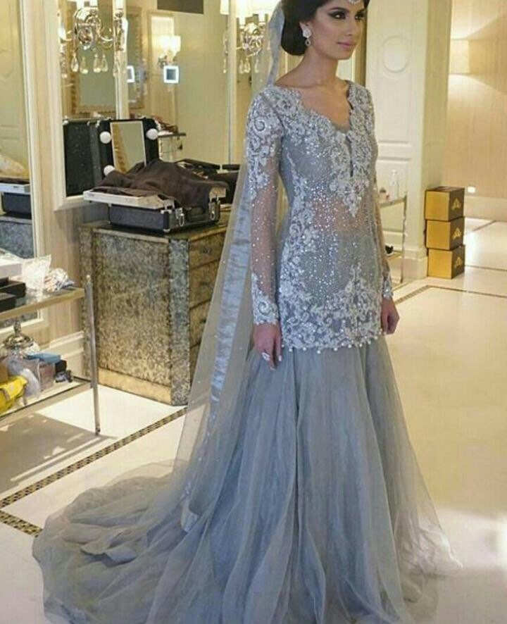Pakistani engagement formal dress elan inspired silver for Silver dresses to wear to a wedding