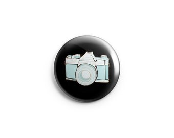 """Camera button / Photographer button-  1.25"""" Pinback Button, Magnet, or Flair, gifts for photographers, camera flair"""