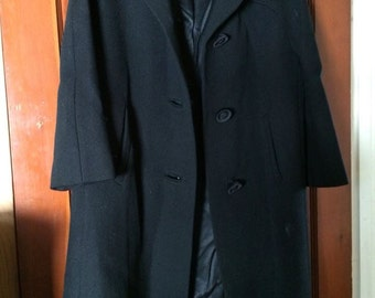 Vintage, Sycamore, Black Wool Coat with Mink Collar - 1960's