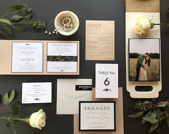 Pocketfold Invitation, Classic floral pocketfold invitation, Elegant invitation, Black and White invitation, Blush Invitation Suite- DEPOSIT