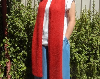 Extra long scarf, Valentines day gift, red scarf, mohair scarf