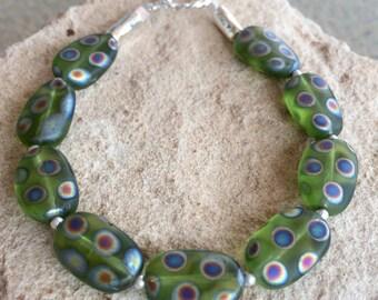 Pretty green bracelet, Czech glass polka dot bead, sterling silver bracelet, boho bracelet, statement bracelet, gift for her, gift for wife