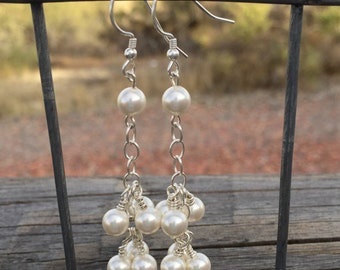 Pretty pearl and sterling silver dangle earrings, Swarovski earrings, dangle earrings, pearl earrings, sundance style earrings, gift for her