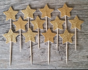 12 Gold Star Cupcake Toppers