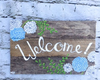 Pallet Wood Hand Painted Welcome Sign