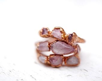 Rose Quartz Copper Stacking Ring / Blush Pink Rings / Bridesmaids gifts / Pink Quartz Ring / Gift for Girlfriend / Raw Stone Ring