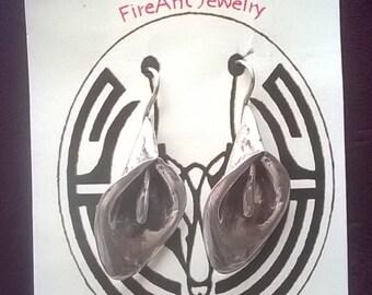 Calla Lilly  Silver Earrings