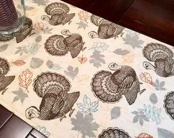"Thanksgiving Turkey Table Runner - 60"" Table Runner - Autumn Harvest Table Runner - Fall Runner - Thanksgiving Linens - Reversible Runner"