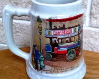 McCoy Beer Stein Steam Omnibus Thornycroft 1902 Nestles Food Hammersmith and Oxford Circus Ceramic Mug - Vintage