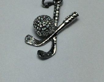 Sterling Silver 925 Vintage Bracelet Charm 3D Golf Clubs Golf Ball 3.2g 5899