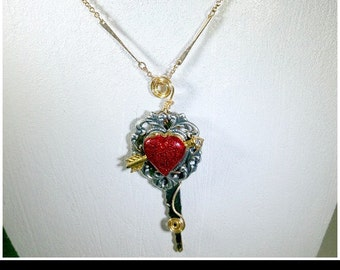 Brass Key Sparkly Red Heart Necklace with matching Earrings
