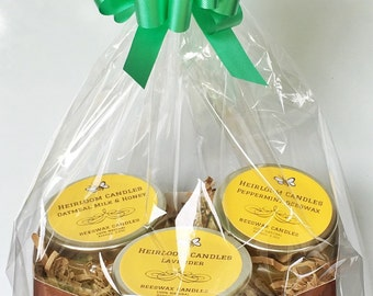 Beeswax Candle Gift Basket - Beeswax Gift Basket - Best Friend Gift - Teacher Gift - Birthday Gift Basket - Thank You Gift - College Gift
