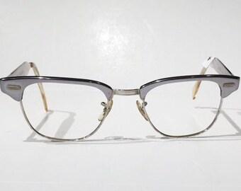 Vintage Browline Combination Aluminum Glasses Frames, 50s-60s Glasses Silver Browline Cat Eye Frames, Silver Aluminum Pin Up Cateye Glasses