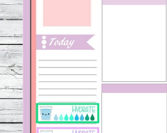 Kawaii Daily Water Tracker  Planner Stickers To Use With Erin Condren Planner