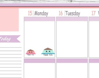 Itty Bitty or ECLP Kawaii Pet Bowl  Dog Cat Feed Me Stickers To Use With Erin Condren Planner