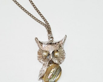 Abalone Owl Silver Tone Faux Pearl Pendant Necklace Adorable