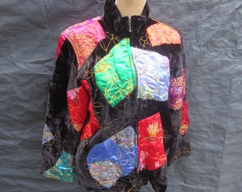 Jacket,1990s, Colourful Asian Patchwork Coat, size Large, made in India,rayon, polyester
